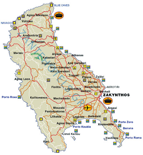 Map of Zante Detailed map of Zakynthos island Greece