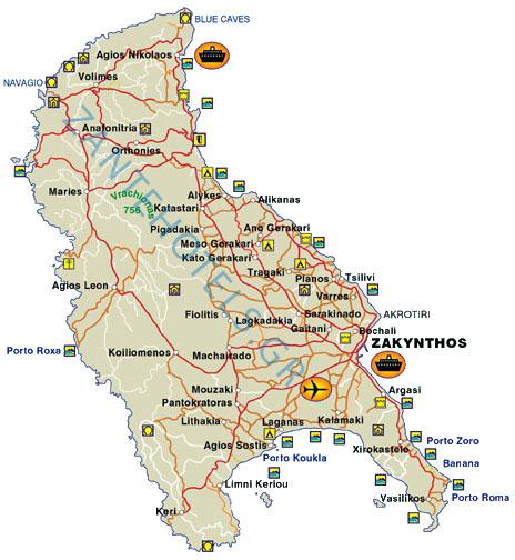 Map Of Zante Map of Zante   Detailed map of Zakynthos island Greece. Map Of Zante